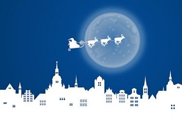 Weihnachtsmann mit Rentierschlitten über einer Stadt – blau