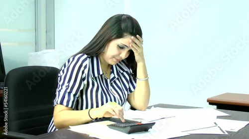 Woman frustrated having many debts