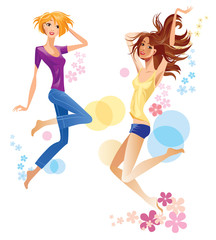 jumping cheerful girls