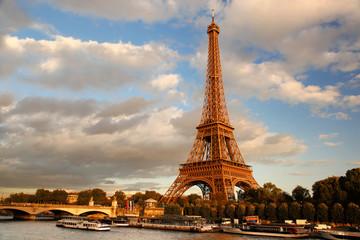 Eiffel Tower  with bridge in Paris, France