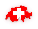 Three-dimensional map of Switzerland.