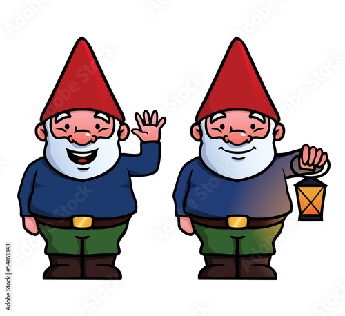 To garden gnomes, one waving and one holding a lamp.
