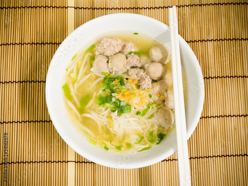 pork meatballs and noodle soup
