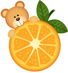 Teddy bear eating orange slice