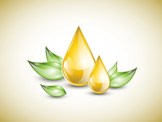 Yellow oil droplets with green leaves