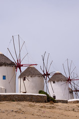 Windmills on the Island of Mykonos in Greece
