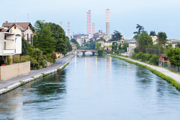 Naviglio and chimney-Turbigo, Milano color image