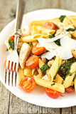 Chicken Florentine pasta with tomatoes and spinach poster