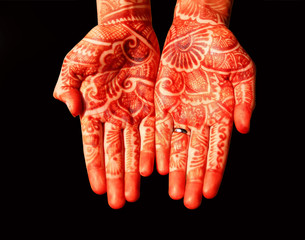Indian traditional hand-painted with henna - mehandi