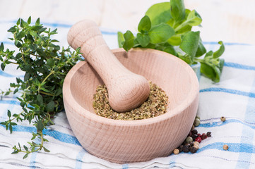 Fresh Herbs in a wooden bowl