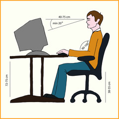 correct position of persons at the computer