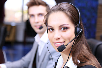Call center operators at work.