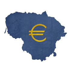 European currency symbol on map of Lithuania