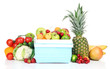 Fresh fruits and vegetables in mini refrigerator, isolated