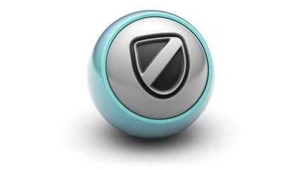 shield icon on ball. Looping.