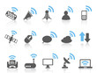 wireless communications icon,blue series