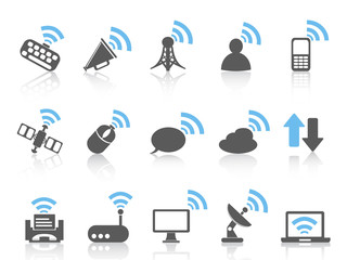 wireless communications icon,blue series