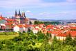 View over historic center of Prague with castle, Czech Republic