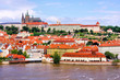 Prague view of historic Old town and Prague Castle