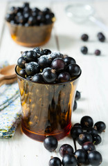 black currant in a transparent glass
