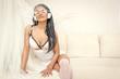 Lovely angel girl in headphones listening music