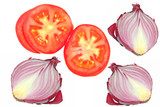 Sliced tomato and onion collage isolated