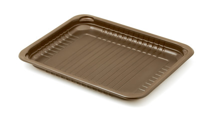 Empty brown plastic packaging food tray