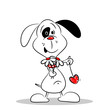 A cartoon dog holding a love heart and flowers