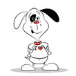 A cartoon dog in a white I love heart t-shirt with copy space