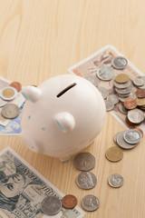 ブタの貯金箱とお金
