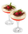 fruit jelly with chocolate and raspberries in glasses isolated
