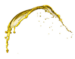 Flying splash yellow liquid on a white background