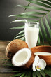 Coconut with glass of milk,  on wooden table, on grey
