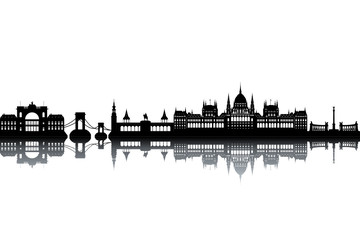 Budapest skyline - black and white vector illustration