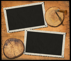 Two Vintage Photo Frames on Wood Wall