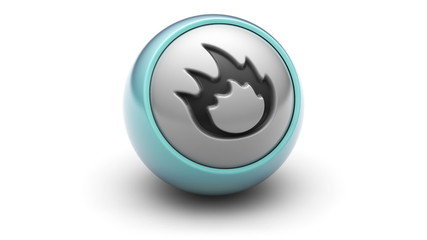 Flame icon on ball. Looping.