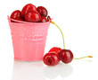 Ripe red cherry berries in pail isolated on white