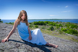 Beauty teenager on summer Swedish coast