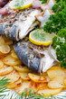 Fish - grilled sea bream with baked potatoes