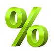3D Light Green Percent Sign