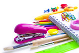 School and office supplies. Stationery on white background.