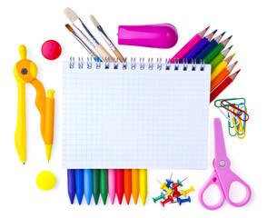 School supplies. Back to school background.