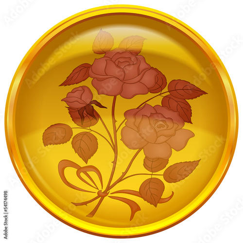 Button with sign of rose bouquet
