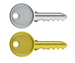 silver and gold key on a white background