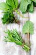 Fresh herbs ( sage, tarragon , mint and spinach )