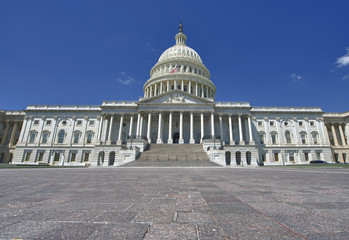 Washington US Capitol on brighty sky background