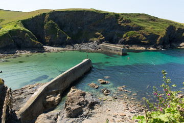 Cornish harbour walls Port Isaac