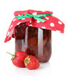 Homemade strawberry jam, isolated on white