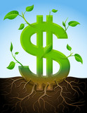 Growing dollar symbol like plant with leaves and roots in ground