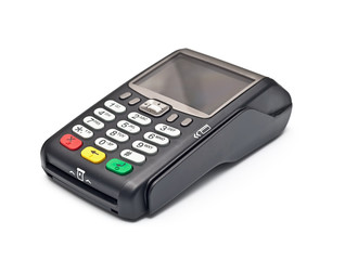 payment terminal on white background isolated